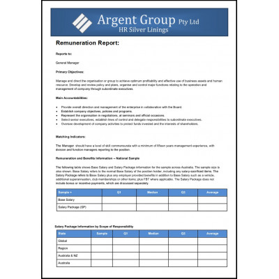 General Supervisor/ Foreman - Remuneration Report